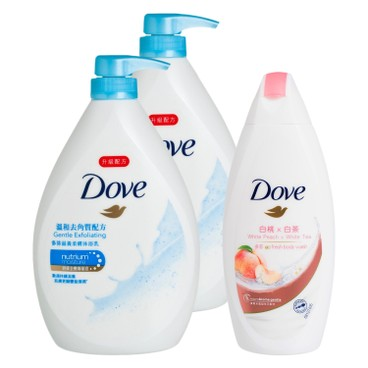 DOVE - Gentle Exfoliating Body Wash Free White Peach Body Wash Bundle - 1LX2+200G