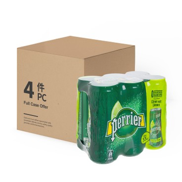 PERRIER(PARALLEL IMPORT) - Carbonated Natural Mineral Water can lime case Offer - 330MLX6X4