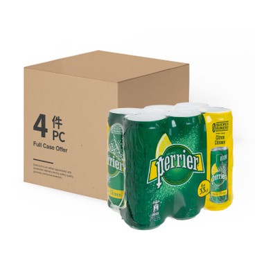 PERRIER(PARALLEL IMPORT) - Carbonated Natural Mineral Water can lemon case Offer - 330MLX6X4