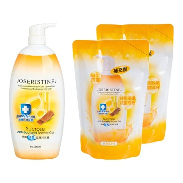 JOSERISTINE BY CHOI FUNG HONG - Sucrose Anti bacterial Shower Gel 1 2 Bundle Set - 1L+900MLX2