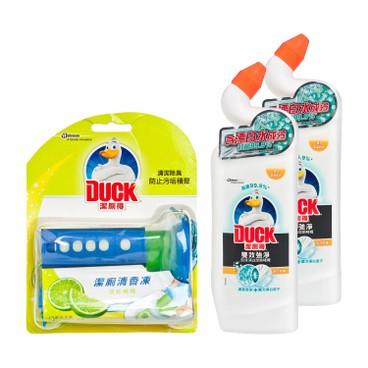 TOILET DUCK - Bleach Toilet Clnr Citrus Twin Pack Fresh Disc lime Bundle - 750MLX2+38G