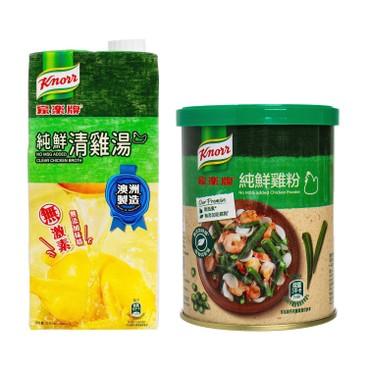 家樂牌 - 純鮮清雞湯 (不加味精)+純鮮雞粉 - 1L+145G