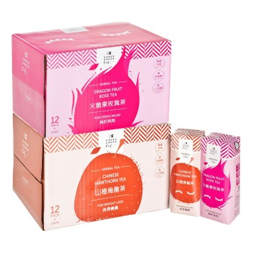 CHECKCHECKCIN - Chinese Hawthorn Tea Dragon Fruit Rose Tea Case Offer - SET