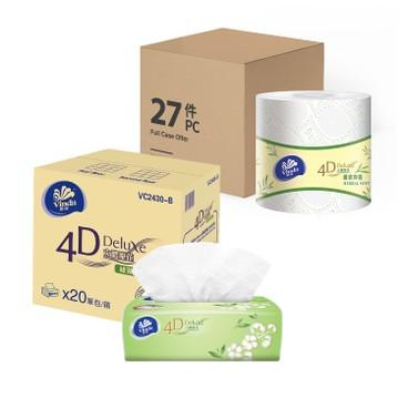 維達 - 4D DELUXE 親膚抑菌綠茶淡香原箱組合 - 27'S+20'S