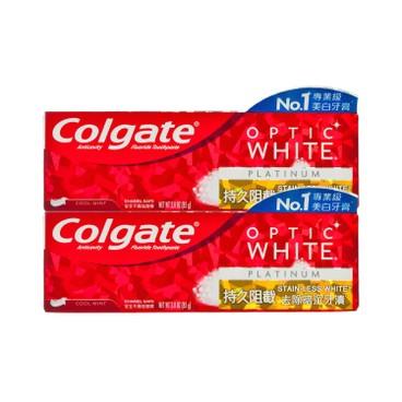 COLGATE - OPTIC WHITE-PLATINUM STAINLESS TOOTHPASTE-2PC - 85GX2