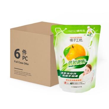 橘子工坊 - 天然濃縮洗衣精(補充包)-低敏親膚-6件装 - 1.5LX6