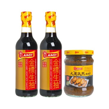 AMOY - GOLD LABEL LIGHT SOY SAUCE + CUMIN FLAVOUR SAUCE - 500MLX2 + 220G