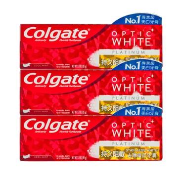 COLGATE - OPTIC WHITE-PLATINUM STAINLESS TOOTHPASTE - 3PCS - 85GX3