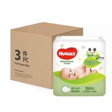 HUGGIES - 天然加厚嬰兒濕紙巾(補充裝) - 原箱 - 184'SX3