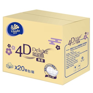 VINDA - 4 d Deluxe Softpack Facial Tissue Neutral Full Case Single Pack - 20'S