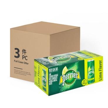 PERRIER 法國巴黎礦泉水 - 有汽礦泉水(罐裝)-青檸-原箱 - 250MLX10X3