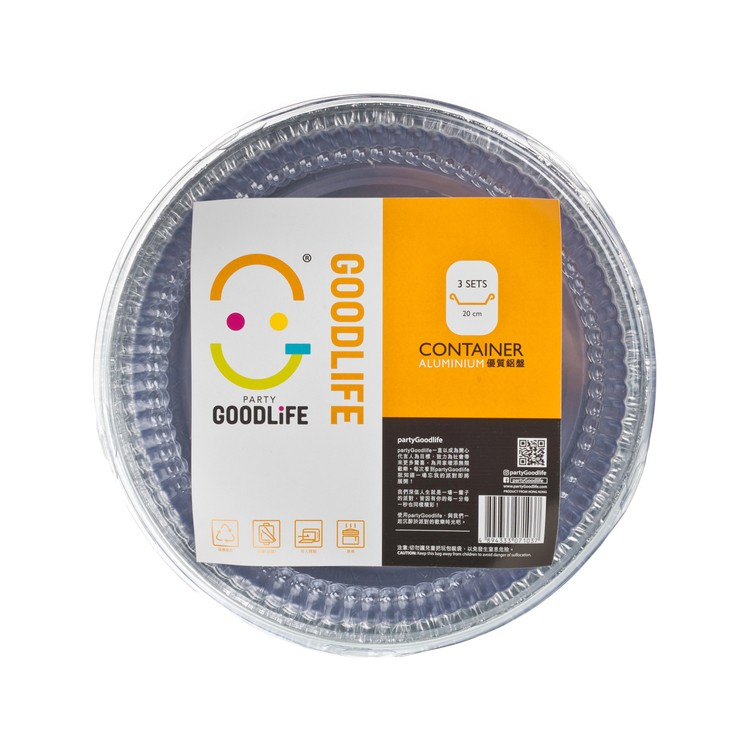 GOODLIFE - ROUND FOIL CONTAINER W/CLEAR PLASTIC LID - 3'S