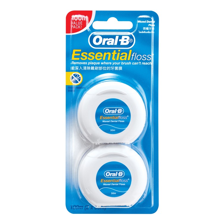ORAL-B - ESSENTIAL FLOSS WAXED 50M (TWIN PACK) - 2'S