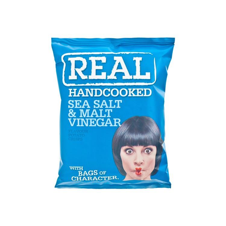 REAL HAND COOKED CRISPS - SEA SALT AND MALT VINEGAR POTATO CHIPS - 35G