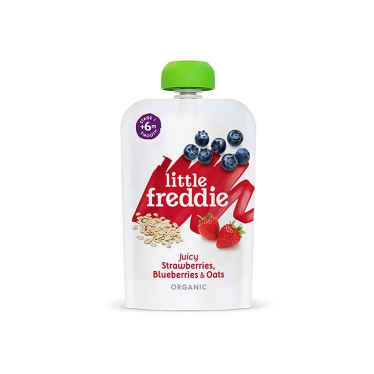 LITTLE FREDDIE - ORGANIC JUICY STRAWBERRIES, BLUEBERRIES & OATS - 100G