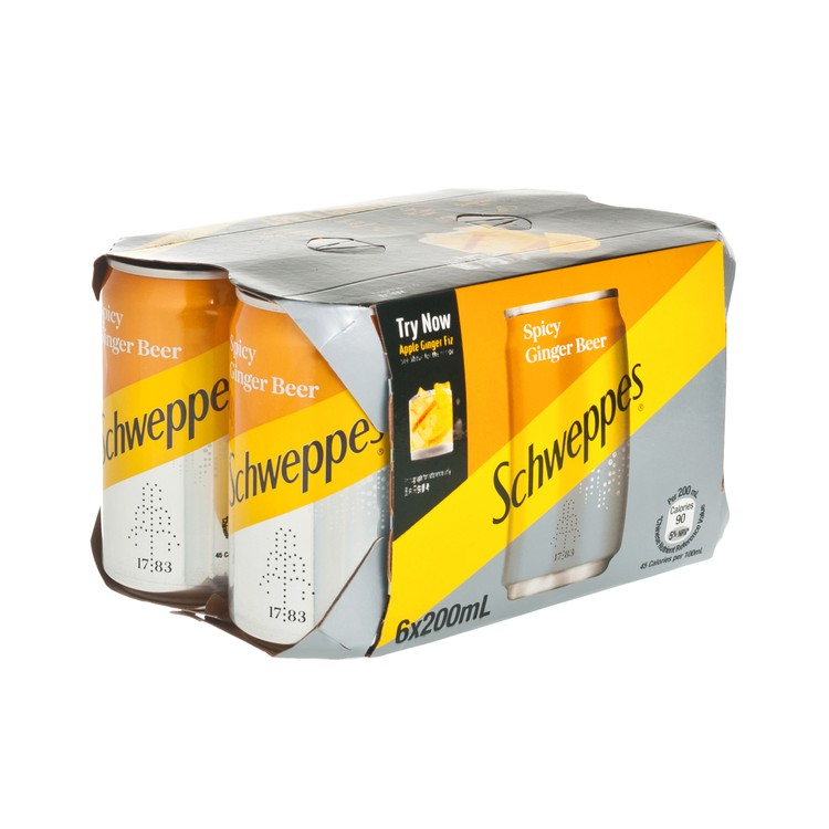 SCHWEPPES - SPICY GINGER BEER SODA (GINGER FLAVORED) MINI CAN - 200MLX6