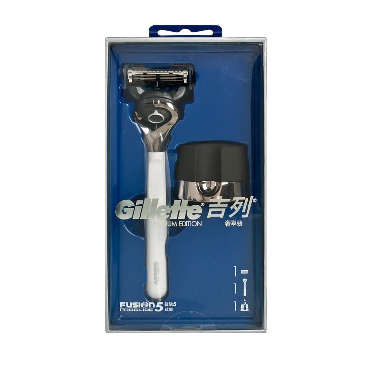 吉列 - 無感PROGLIDE系列限量版剃鬚刀套裝(鋼琴白) - 1'S