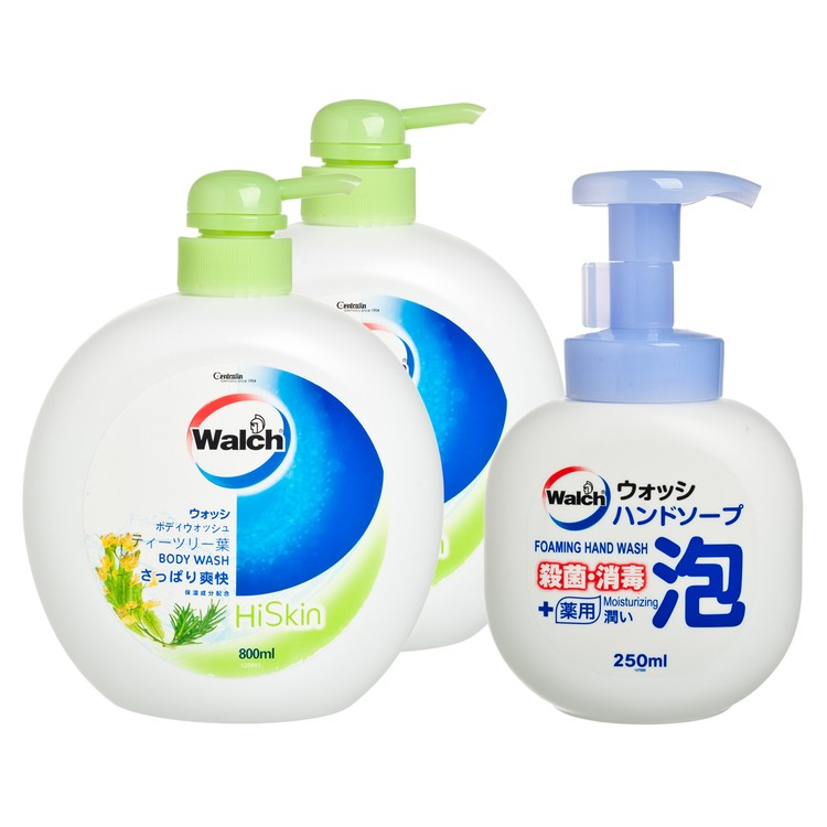 WALCH - HISKIN BODY WASH-TEA TREE(TWINPACK) FREE ANTIBACTERIAL FOAMING HAND WASH MOISTURIZING - 800MLX2+250ML