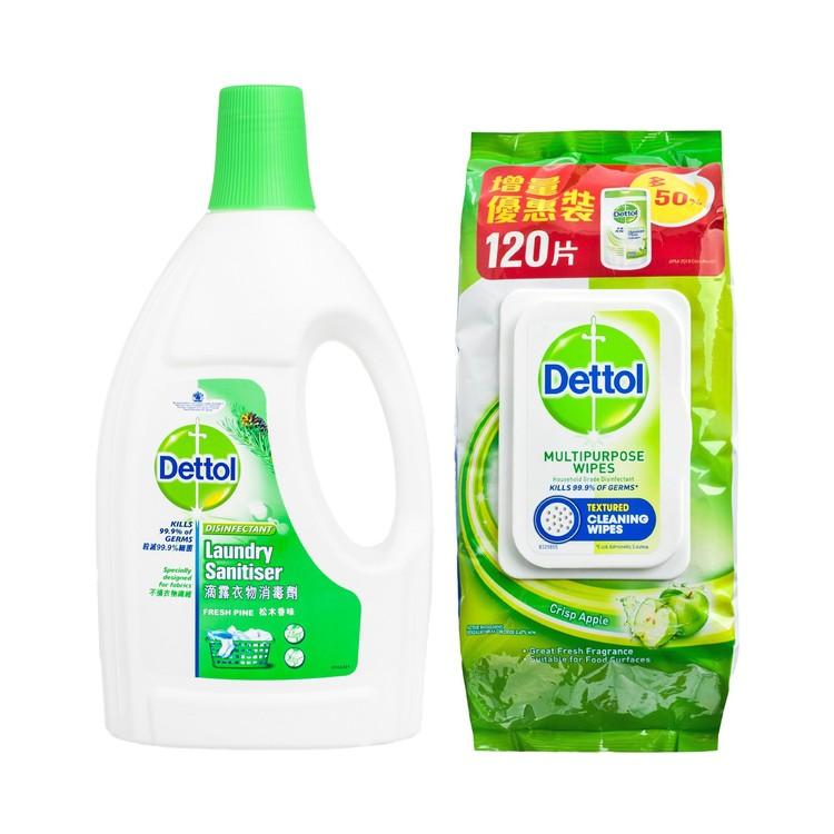 滴露 - 松木衣物消毒劑及消毒清潔濕紙巾青蘋果味(套裝) - 1.2L+120'S
