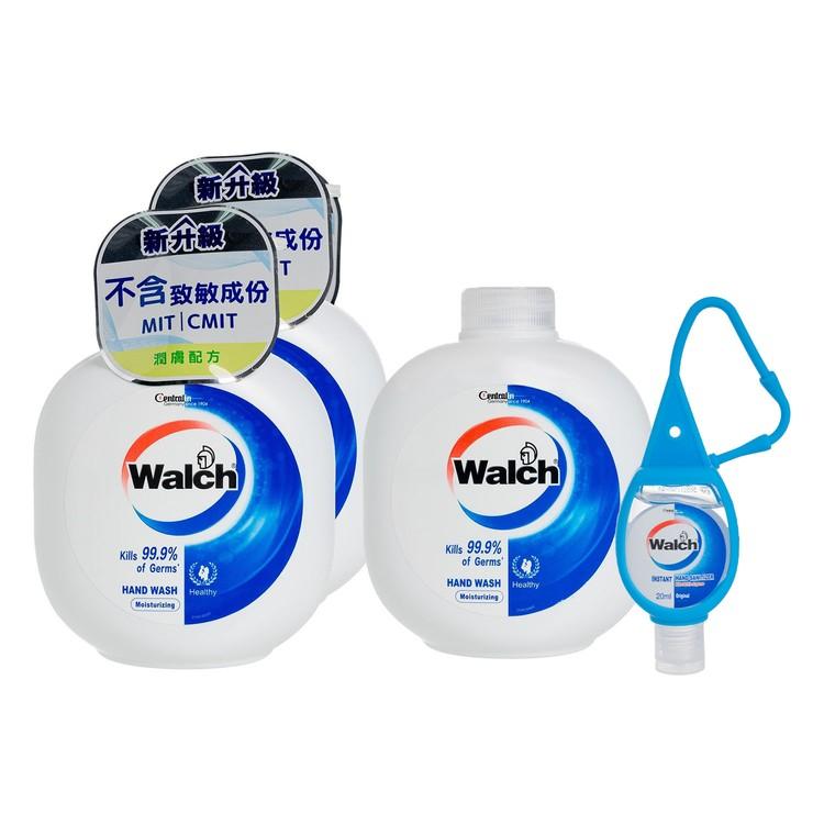 WALCH - HAND WASH GEL(TWINPACK) WITH REFILL-MOISTURIZING FREE HAND SANITIZER - 450MLX3+20ML