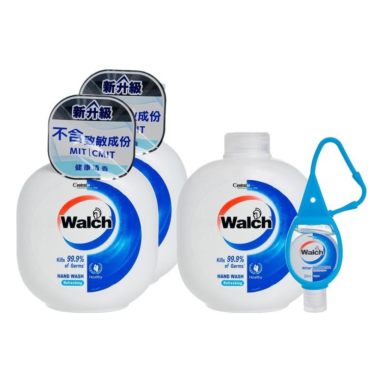 WALCH - HAND WASH GEL(TWINPACK) WITH REFILL-REFRESHING FREE HAND SANITIZER - 450MLX3+20ML