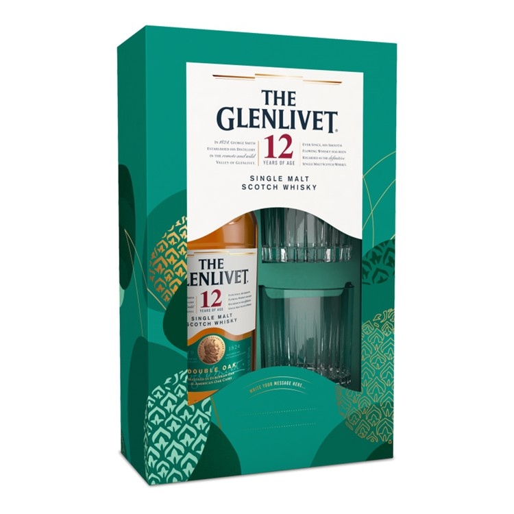 THE GLENLIVET - GIFT BOX - 12 YEARS OLD DOUBLE OAK WHISKY WITH 2 GLASSES SET - SET