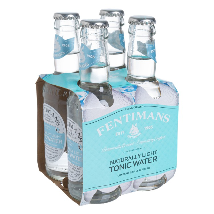 FENTIMANS - NATURALLY LIGHT TONIC WATER  - 200MLX4