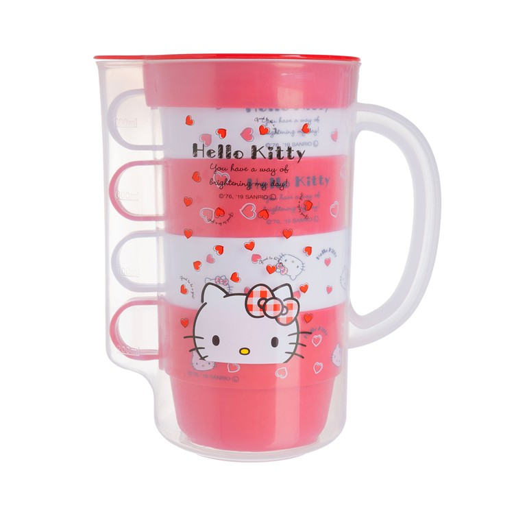 SKATER - PLASTIC WATER BOTTLE WITH STACKING CUP SET -HELLO KITTY RED HEART - SET
