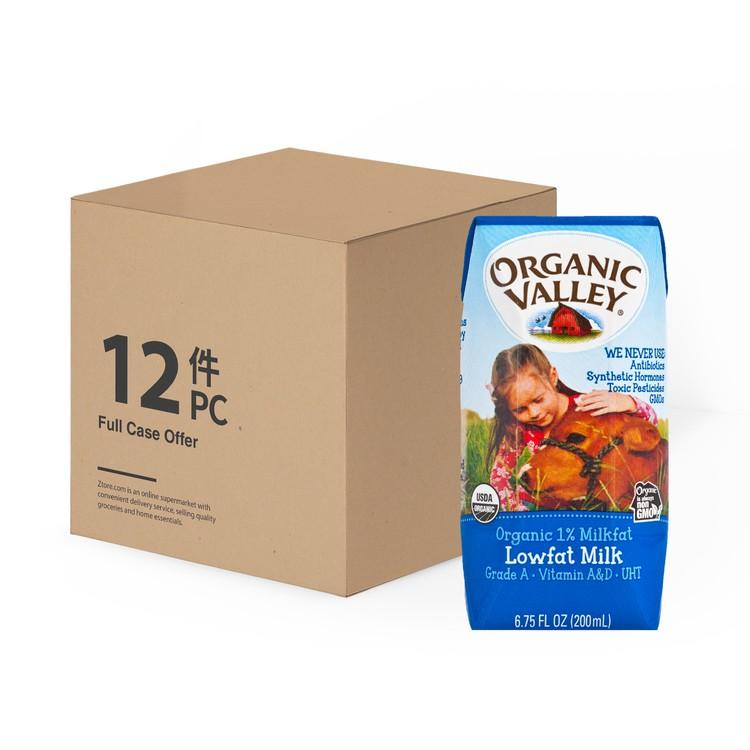 ORGANIC VALLEY - ORGANIC 1% MILKFAT LOWFAT MILK-CASE - 200MLX12
