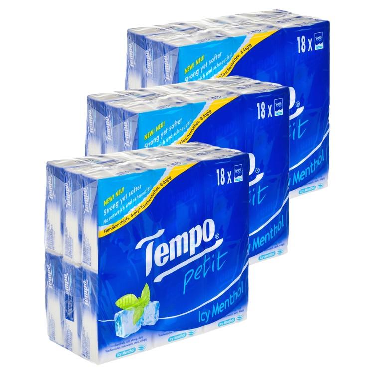 TEMPO - 迷你紙手巾-薄荷味 - 3件裝 - 18'SX3