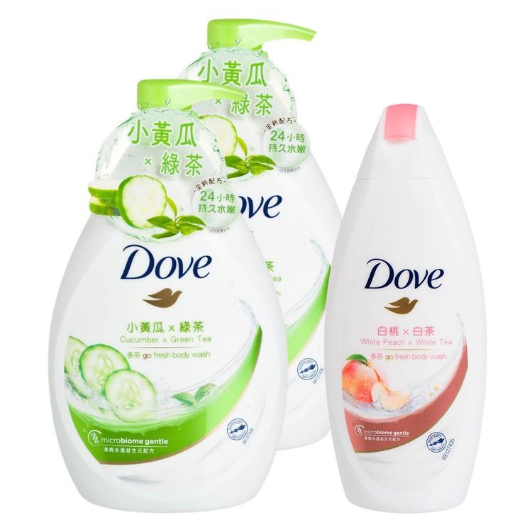 多芬 - 清爽水嫩沐浴乳送白桃及白茶沐浴乳套裝 - 1LX2+200G