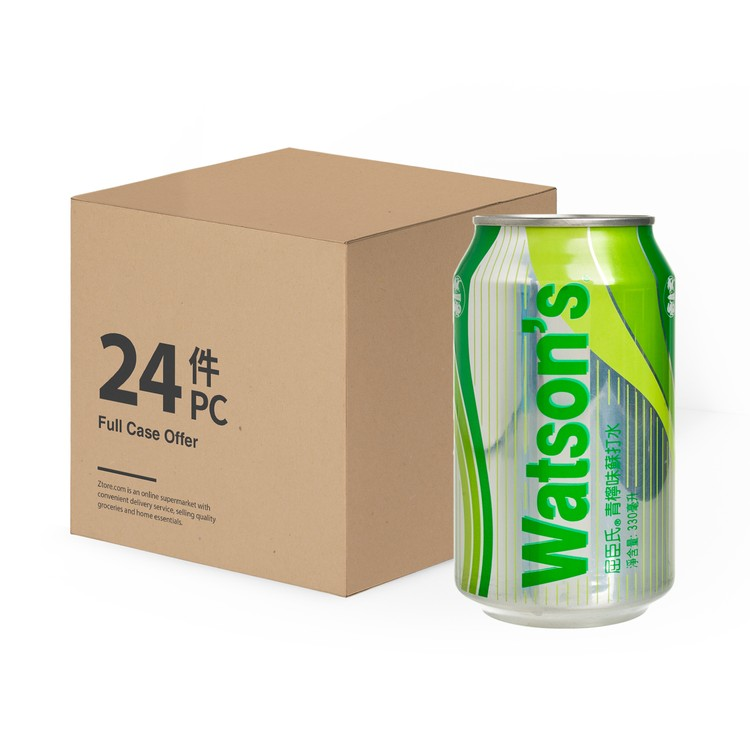 WATSONS - LIME FLAVOURED SODA WATER-CASE - 330MLX24