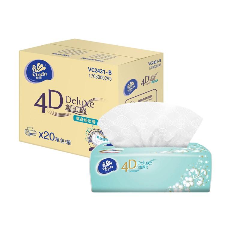 VINDA - 4D DELUXE SOFTPACK FACIAL TISSUE - BABY SOFT (FULL CASE SINGLE PACK) - 20'S
