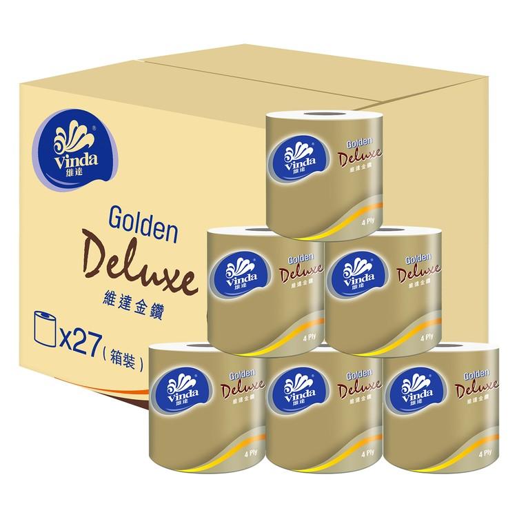 VINDA - GOLDEN DELUXE 4-PLY BATHROOM TISSUE (FULL CASE SINGLE ROLL) - 27'S